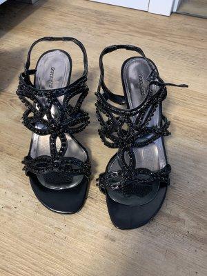 Schwarze Riemchen-Sandalen mit Strasssteinen