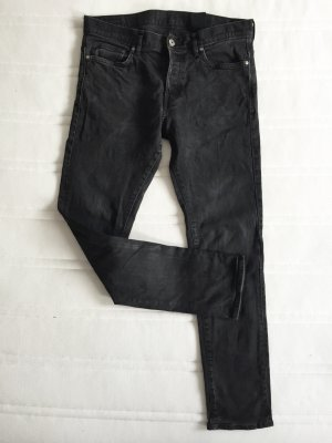 H&M Boyfriend Trousers black-anthracite cotton