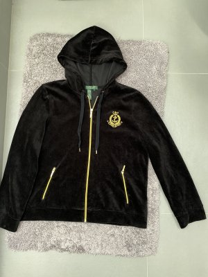 Schwarze Samt Velours Velour Jacke Trainingsjacke Training