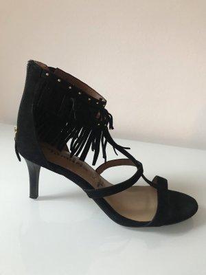 Schwarze Sandale mit Fransen von Tamaris Größe 40