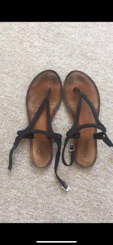 Inuovo Sandalo toe-post nero-marrone chiaro