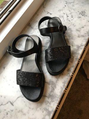 Schwarze Sandalen Glitzer