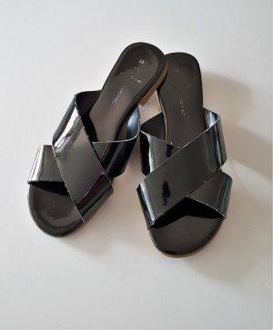schwarze Sandalen, Pantoletten mit Riemchen von Pieces (asos)