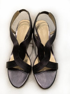 Schwarze Sandaletten aus Leder von Elie Tahari, Gr. 38