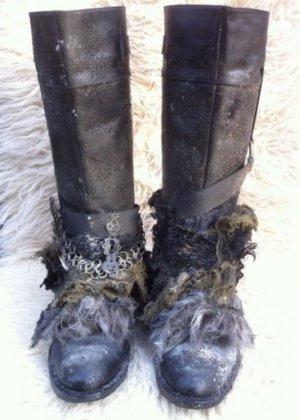 schwarze Schaft Stiefel aus Echt Leder Gr. 40