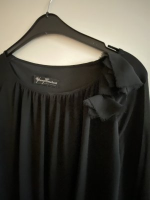 Schwarze schicke Bluse mit Stoffblumr