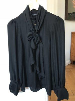 Zara Knit Tie-neck Blouse black synthetic fibre