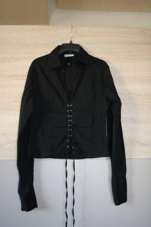schwarze Schnür-Bluse