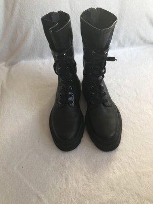 Donna Carolina Bottines à lacets noir-argenté
