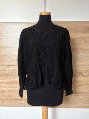 Schwarze Seide Bluse Blumen Stickerei von Zara, Gr. XS (NEU)