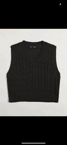 SheIn Sweter bez rękawów z cienkiej dzianiny czarny