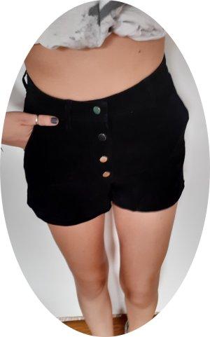 Schwarze Shorts, high waist aus echtem Leder