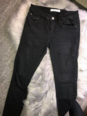 Schwarze Skinny Jeans Cut Out Knie