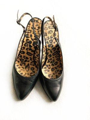Schwarze Slingpumps, Schuhe, Gr. 39, Leofutter