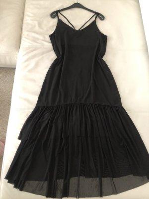 Schwarze Sommer Kleid Lang Volant