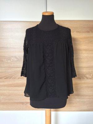 Schwarze Spitzen Blumen Stickerei Bluse von Zara, Gr. S