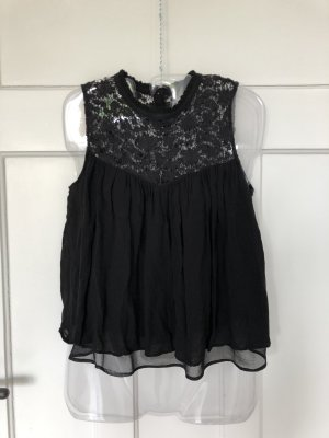 Schwarze Spitzen-/Häkelbluse