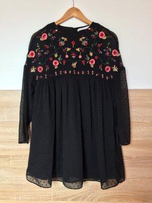 Schwarze Stickerei Blumen Jumpsuit, Kleid von Zara, Gr. XS