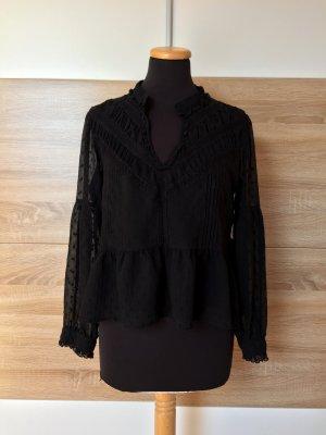 Schwarze Stickerei Bluse von Zara, Gr. XL