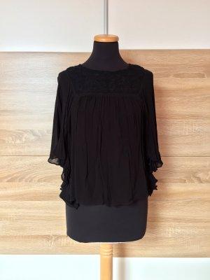 Schwarze Stickerei Bluse von Zara, Gr. XS