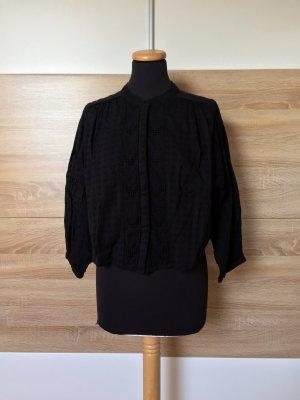 Schwarze Stickerei Lochmuster Bluse von Zara, Gr. M (NEUw.)