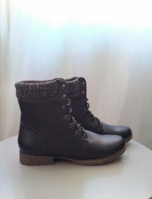 JustFab Bottes à lacets noir-gris foncé