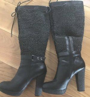 Cafènoir Platform Boots black leather