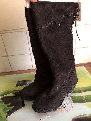 Schwarze Stiefel, Gr. 39, NEU