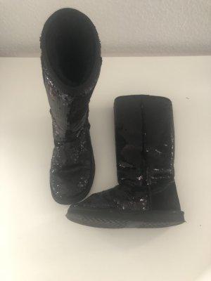 Schwarze Stiefel Lammfell gefüttert mit Pailletten