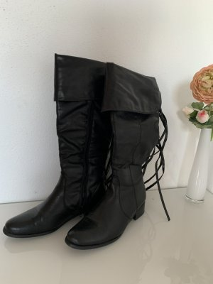 Schwarze Stiefel mit Fransen Gr. 36