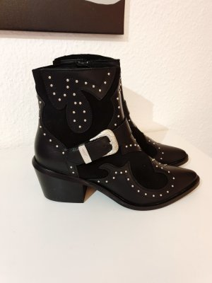 5th Avenue Western Booties black-silver-colored