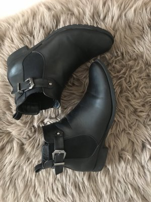 Slip-on Booties black-silver-colored