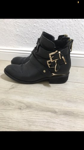 Akira Zipper Booties black-gold-colored