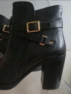 Schwarze Stiefeletten mit goldener Schnalle (Gr.39)