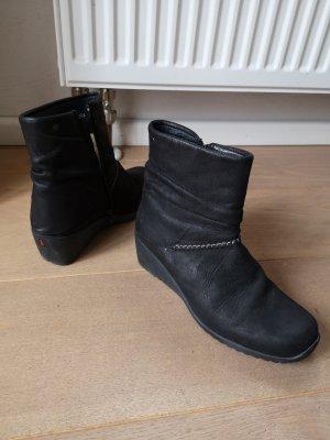 Wolky Botas de cuña negro Cuero