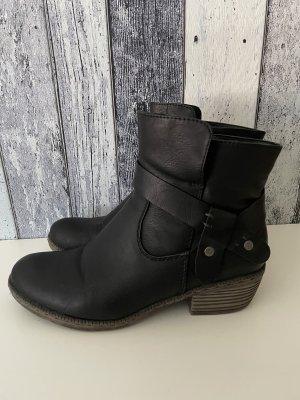 schwarze Stiefeletten mit Nieten von Rieker - Gr. 38 - wenig getragen
