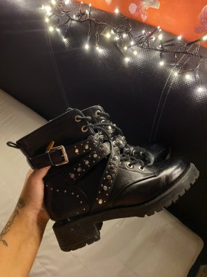 Lace-up Booties black-silver-colored