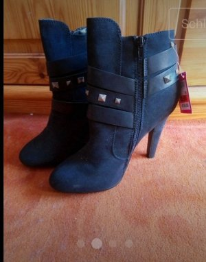 Only Pink Peep Toe Booties black-silver-colored