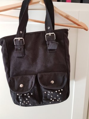 Schwarze Stoffhandtasche