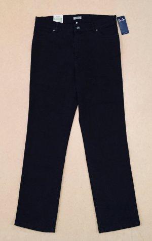 schwarze Strech Hose mit Etikett, lang, high waist, Gr. 21 (entspr. Gr. 42)