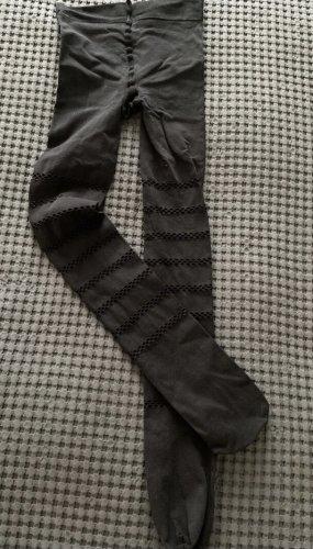 Schwarze Strumpfhose mit Lochmuster, blickdicht