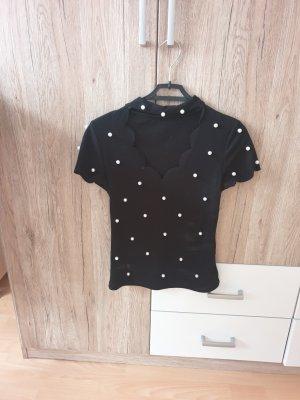 SheIn T-shirt col en V blanc-noir