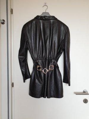 schwarze taillierte vintage MARC CAIN Echtleder Jacke / Biker Kurzmantel mit Taillengürtel
