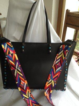 Schwarze Tasche mit Buntem Trägergurt- A4 Format-Businesstasche
