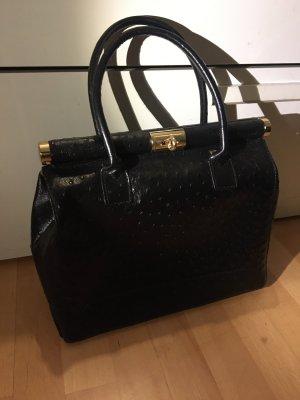 Schwarze Tasche Shopper Made in Italy Leder neu