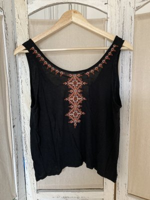 Forever 21 Blusa sin espalda negro-naranja oscuro