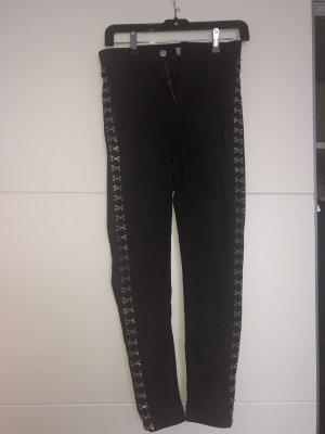 schwarze Topshop Jeans mit Verzierung