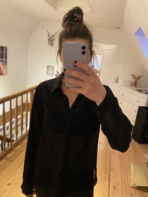Schwarze transparente Bluse Glitzerkragen Amisu
