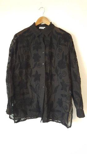3 Suisses Long Sleeve Blouse black cotton