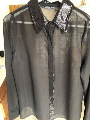 Schwarze Tranzparenz-Bluse mit Pailletten-Detail